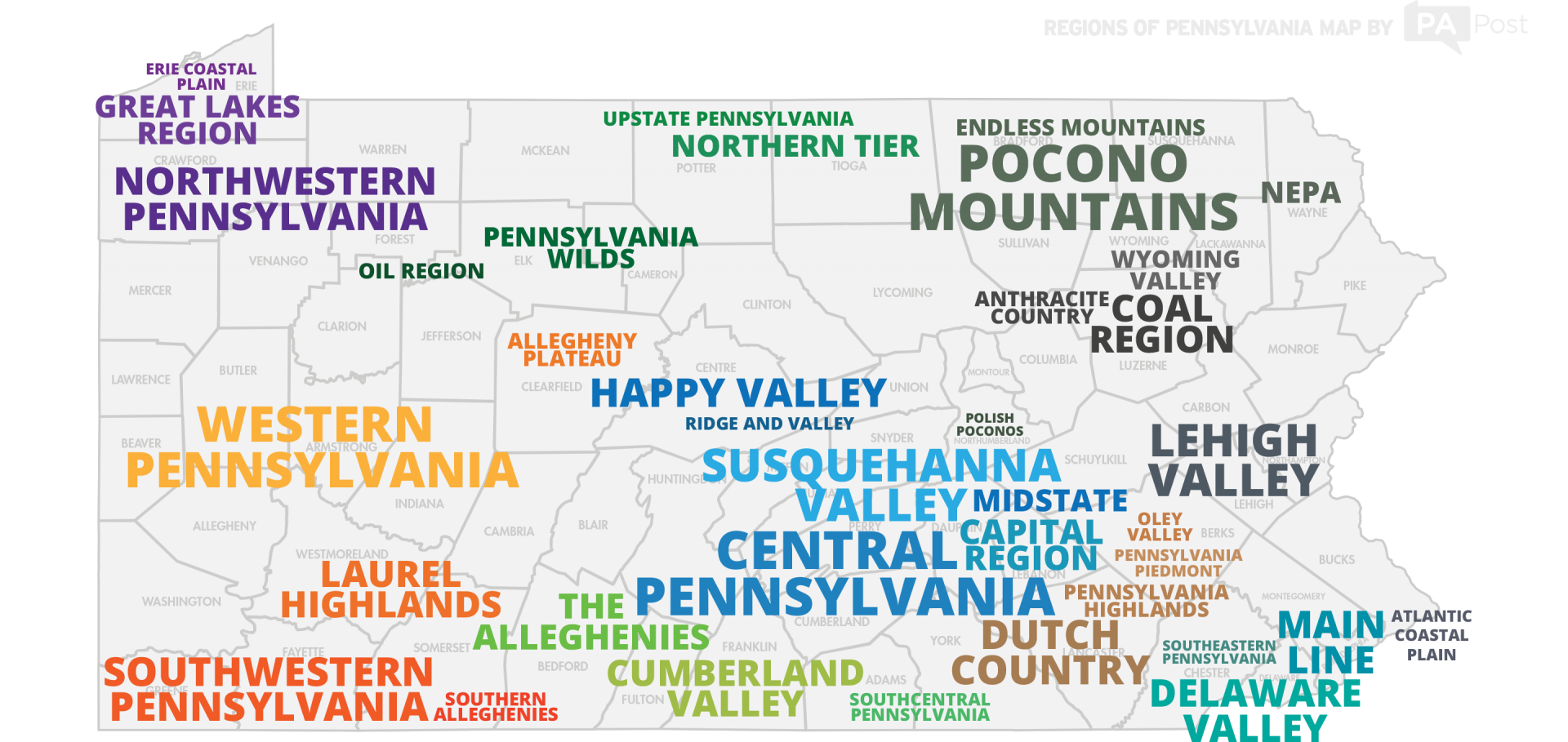 Regions of Pennsylvania Map