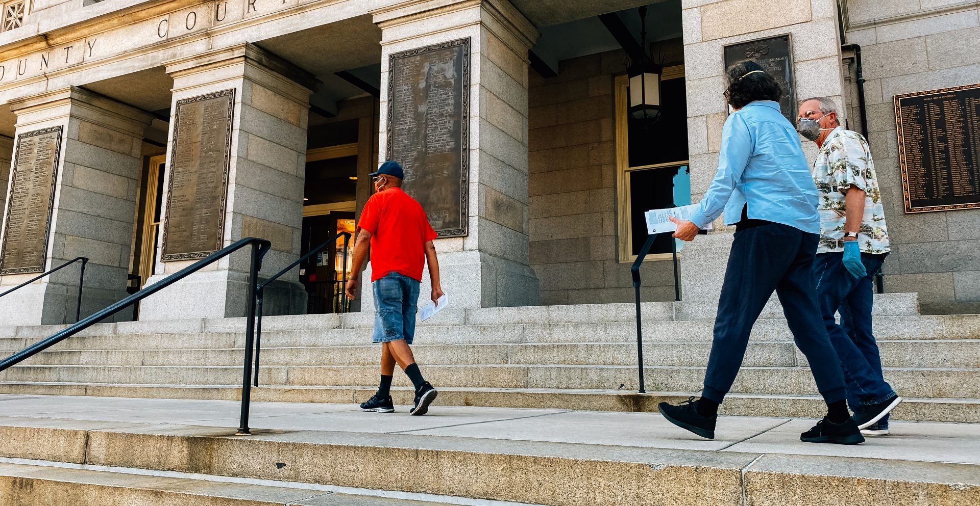 FILE PHOTO: Voters walk along the steps of the York County Courthouse on June 1, 2020, to deposit their ballots in a drop box ahead of the Pennsylvania primary.