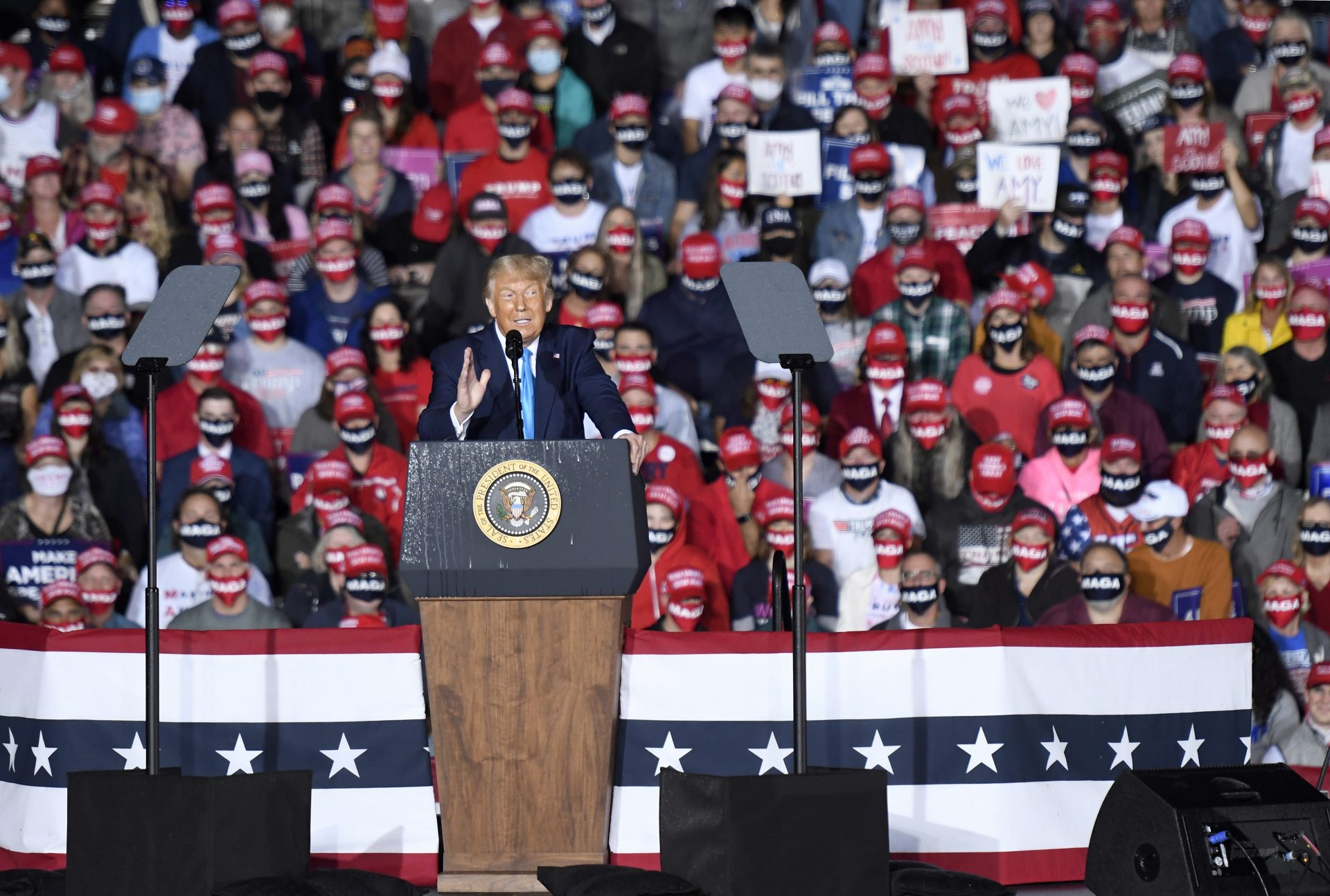 President Donald Trump speaks during a campaign rally at Harrisburg International Airport, Saturday, Sept. 26, 2020, in Middletown, Pa.