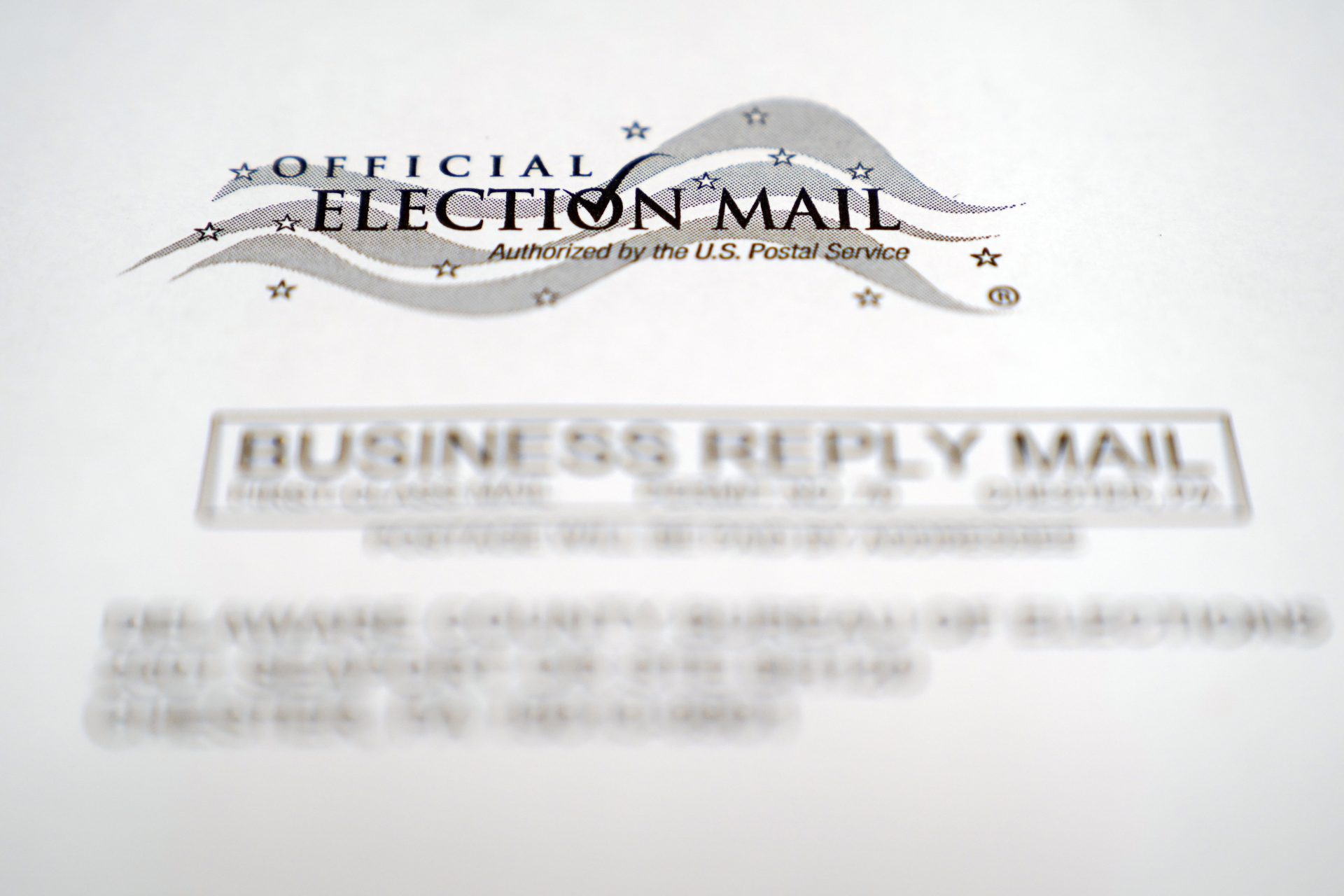 In this Oct. 13, 2020, photo, an envelope of a Pennsylvania official mail-in ballot for the 2020 general election in Marple Township, Pa.