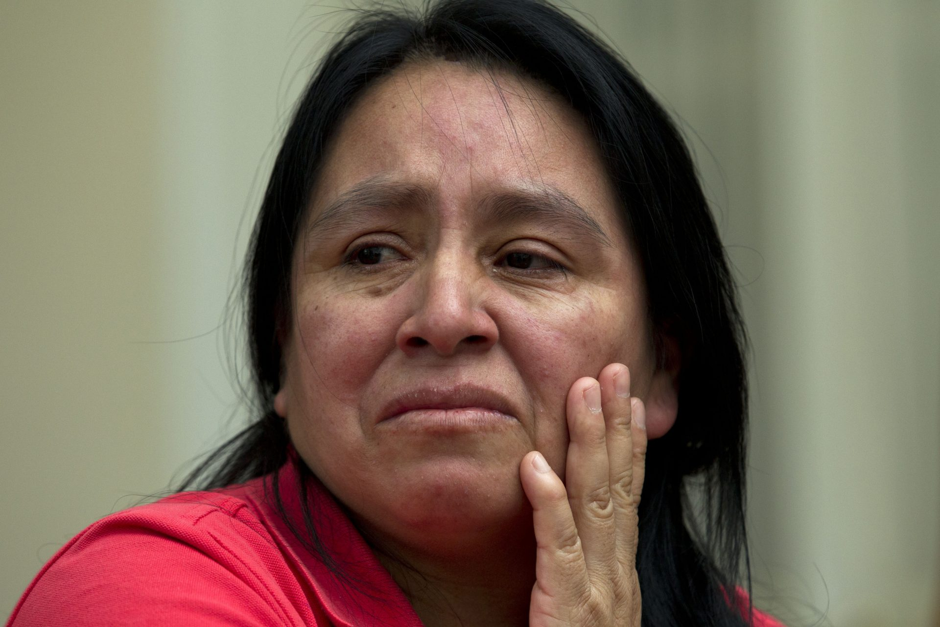 FILE PHOTO: In a Wednesday, July 17, 2019 file photo, Maria Chavalan-Sut of Guatemala, one of a number of immigrants taking sanctuary at houses of worship, speaks during an interview at the Wesley Memorial United Methodist Church in Charlottesville, Va.