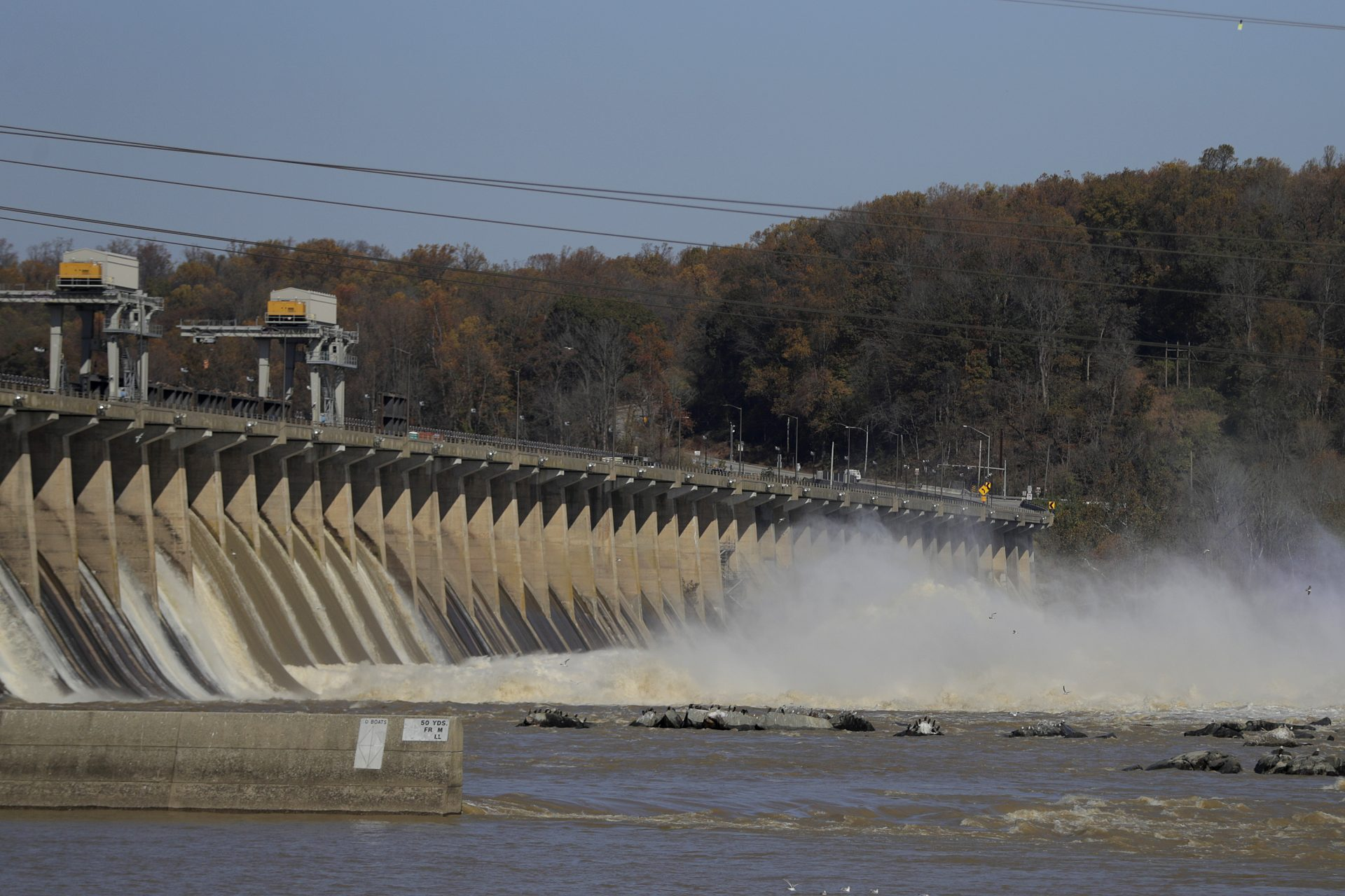 FILE PHOTO: Water gushes down the Conowingo Dam, Wednesday, Nov. 6, 2019, in Havre De Grace, Md.