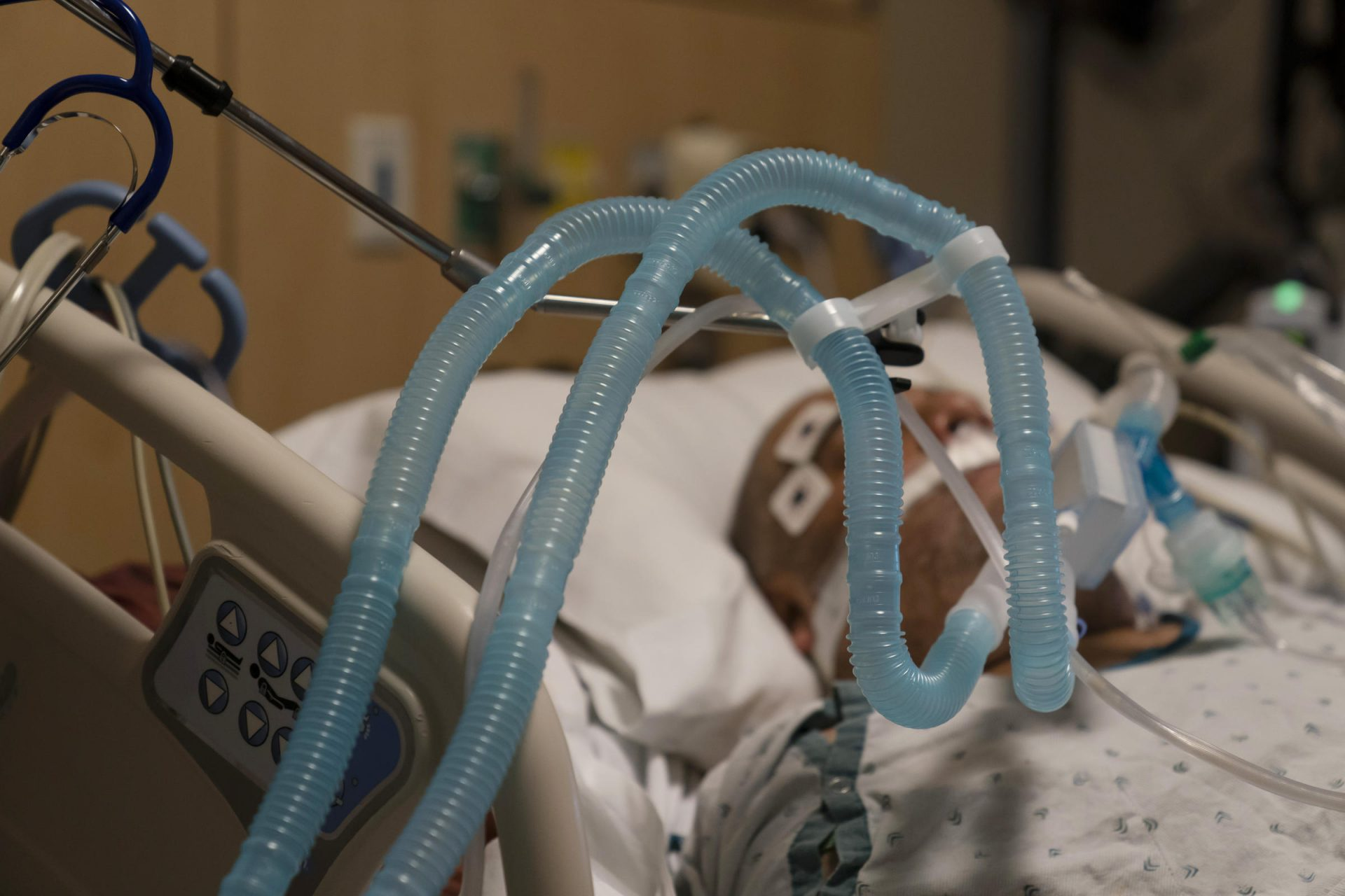 FILE PHOTO: In this Nov. 19, 2020, file photo, ventilator tubes are attached to a COVID-19 patient at Providence Holy Cross Medical Center in the Mission Hills section of Los Angeles.