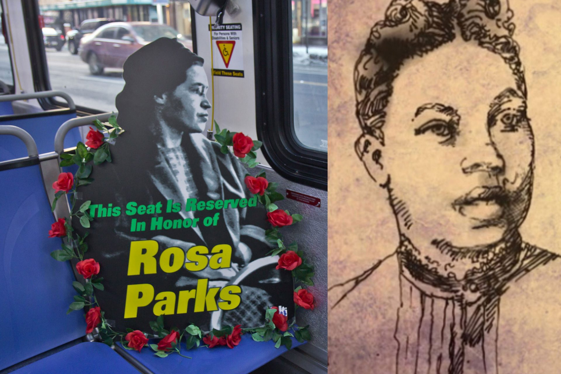 Left: Rosa Parks honored during SEPTA ceremony (Kimberly Paynter/WHYY) Right: Caroline LeCount (Courtesy of Transportationhistory.org)
