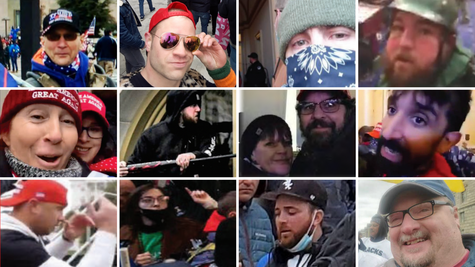 This collage of images from U.S. Department of Justice case records shows, from top row, left to right: Paul Spigelmyer, Jackson Kostolsky, Andrew Wrigley, Dale Jeremiah Shalvey, Dawn Bancroft and Diana Santos-Smith, Jordan Robert Mink, Christy and Matthew Clark, Matthew Perna, Ryan Samsel, Riley June Williams, Richard Michetti and Joseph Fischer.
