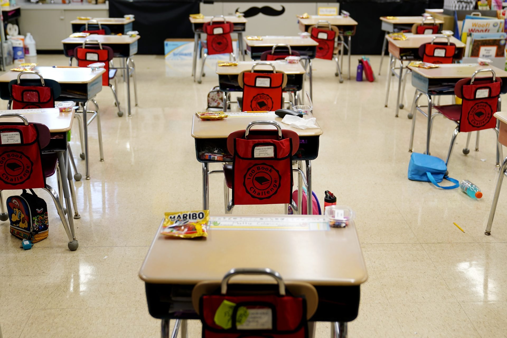 Desks are arranged in a classroom at Panther Valley Elementary School, Thursday, March 11, 2021, in Nesquehoning, Pa. On May 26, 2020, former student, 9-year-old Ava Lerario; her mother, Ashley Belson, and her father, Marc Lerario were found fatally shot inside their home.