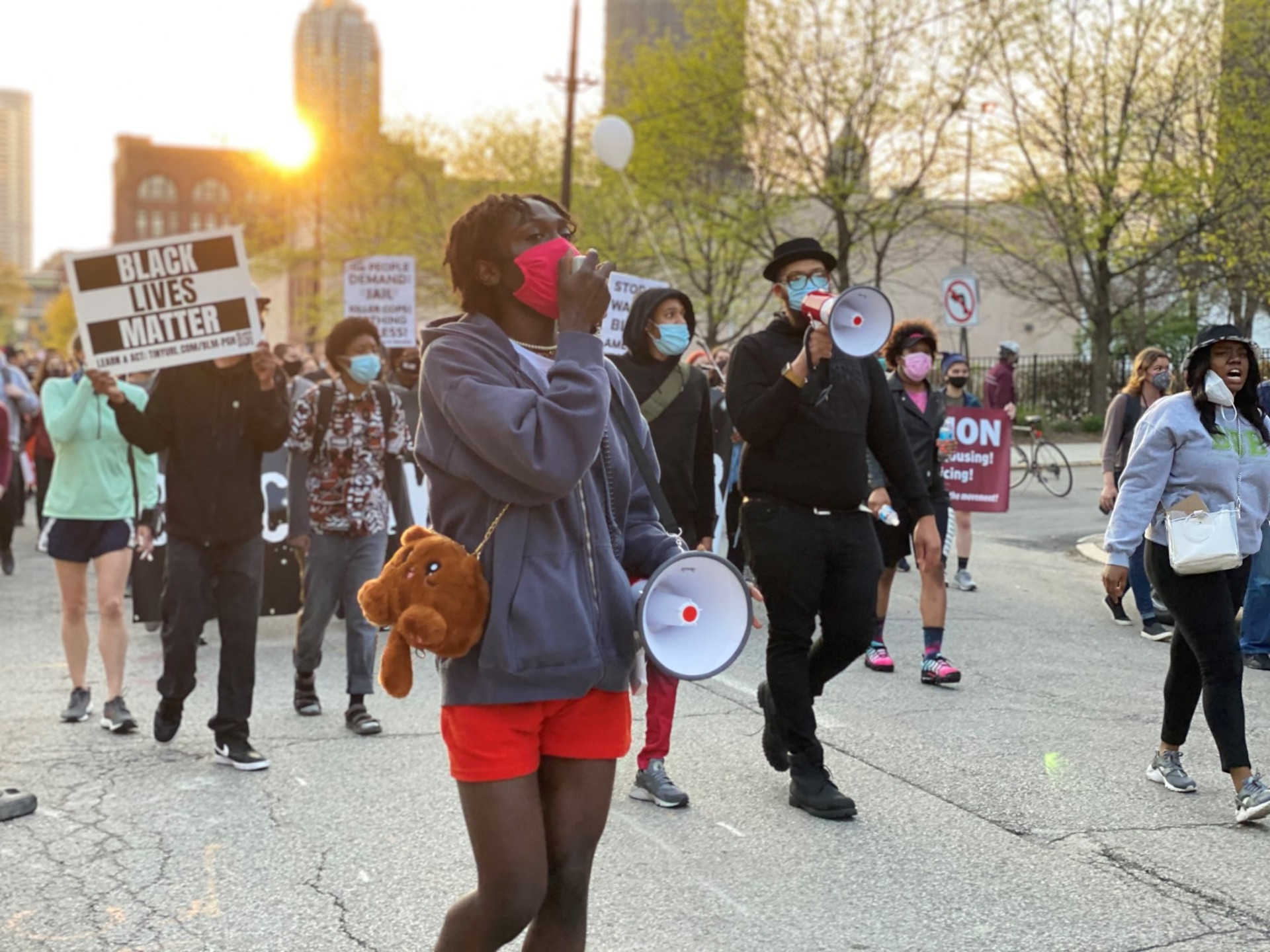 Nick Anglin, Black, Young, & Educated co-founder, leads a chant during a protest in Pittsburgh Tuesday, April 20, 2021.