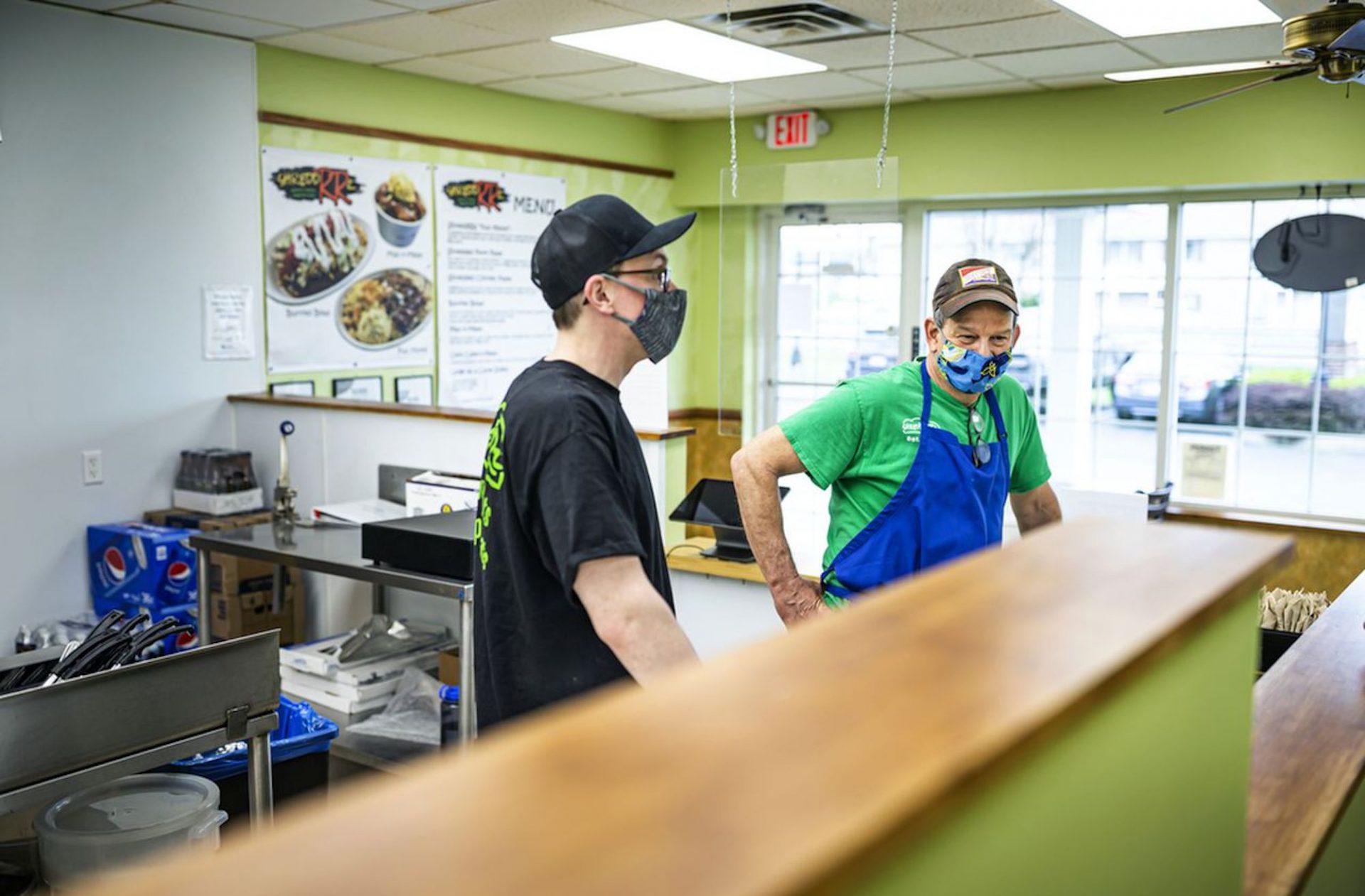 Manager Nick Coley, left, and co-owner Rob Billet. ShreddRRz restaurant opens at 7839 Allentown Blvd. in West Hanover Township. April 14, 2021.