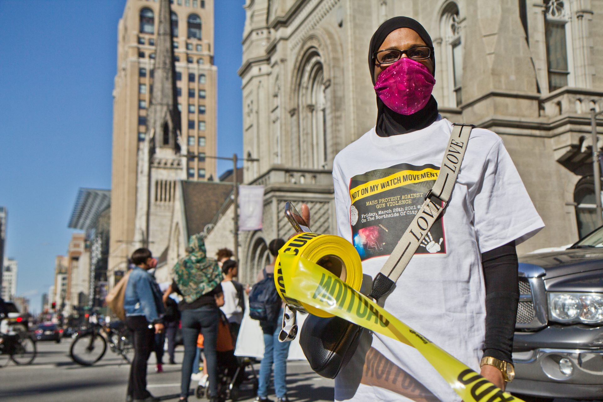Zahirah Ahmad, a North Philly resident and member of the Not On My Watch movement, joined activists at a rally and march at City Hall in Philadelphia on March 26, 2021, to demand the city put more resources to preventing gun violence.